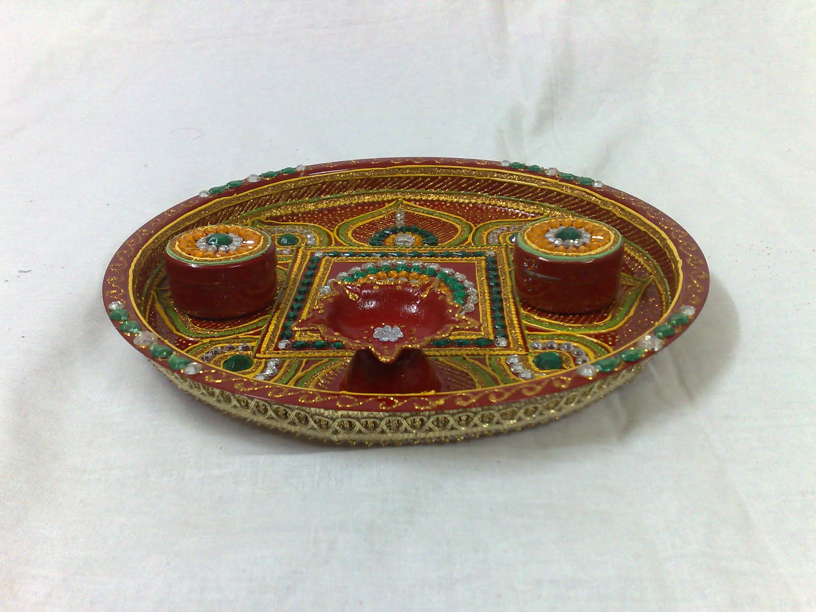 Ranjana arts www ranjanaarts com aarti thali pooja thali for Aana decoration decorative tray