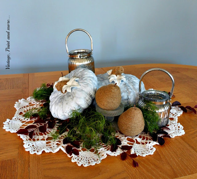 Vintage, Paint and more... centerpiece DIY'd with painted thrifted pumpkins, twine wrapped pears and vintage crochet