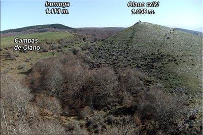 Irumuga y Olano txiki vistos desde la cima