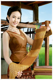 Beer Lao Calendar Model 2011 - showing Lao textiles