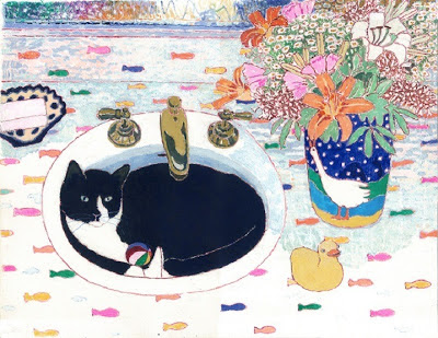 """Portrait of Eloise"" by Ruth Morgan. Painting of black and white cat in sink"