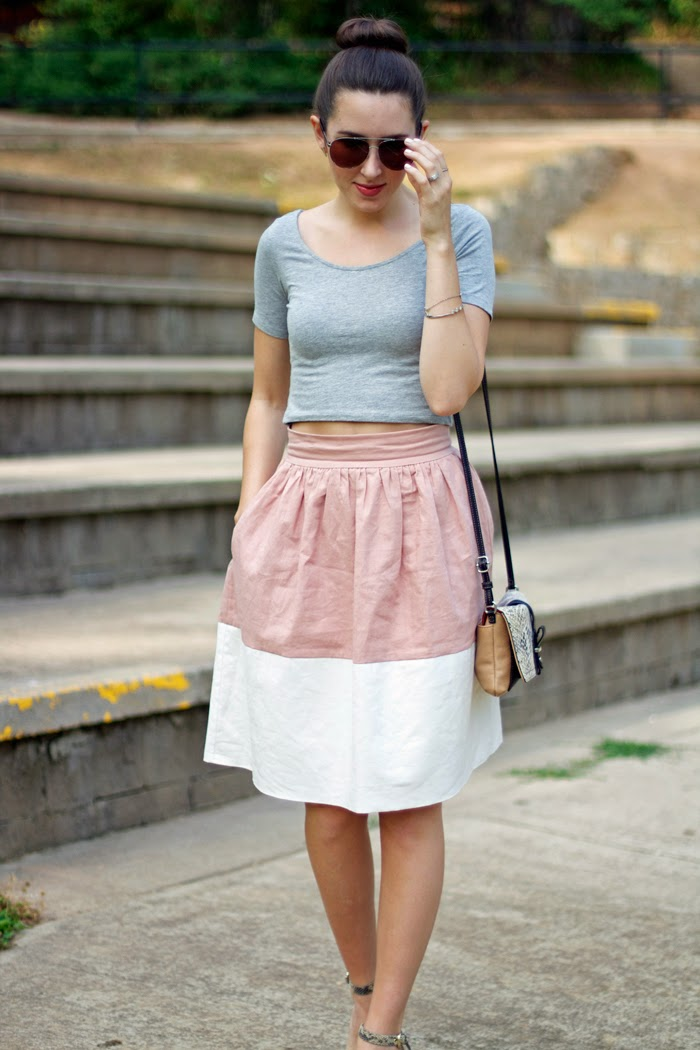 Stripes & Polka Dots Color Block Party Skirt