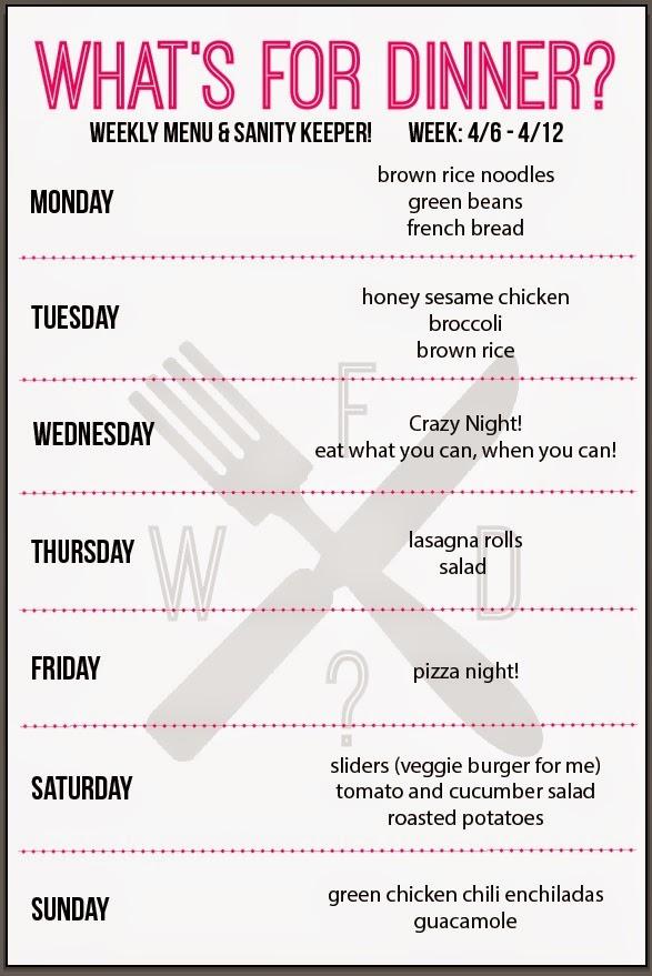 weekly dinner menus