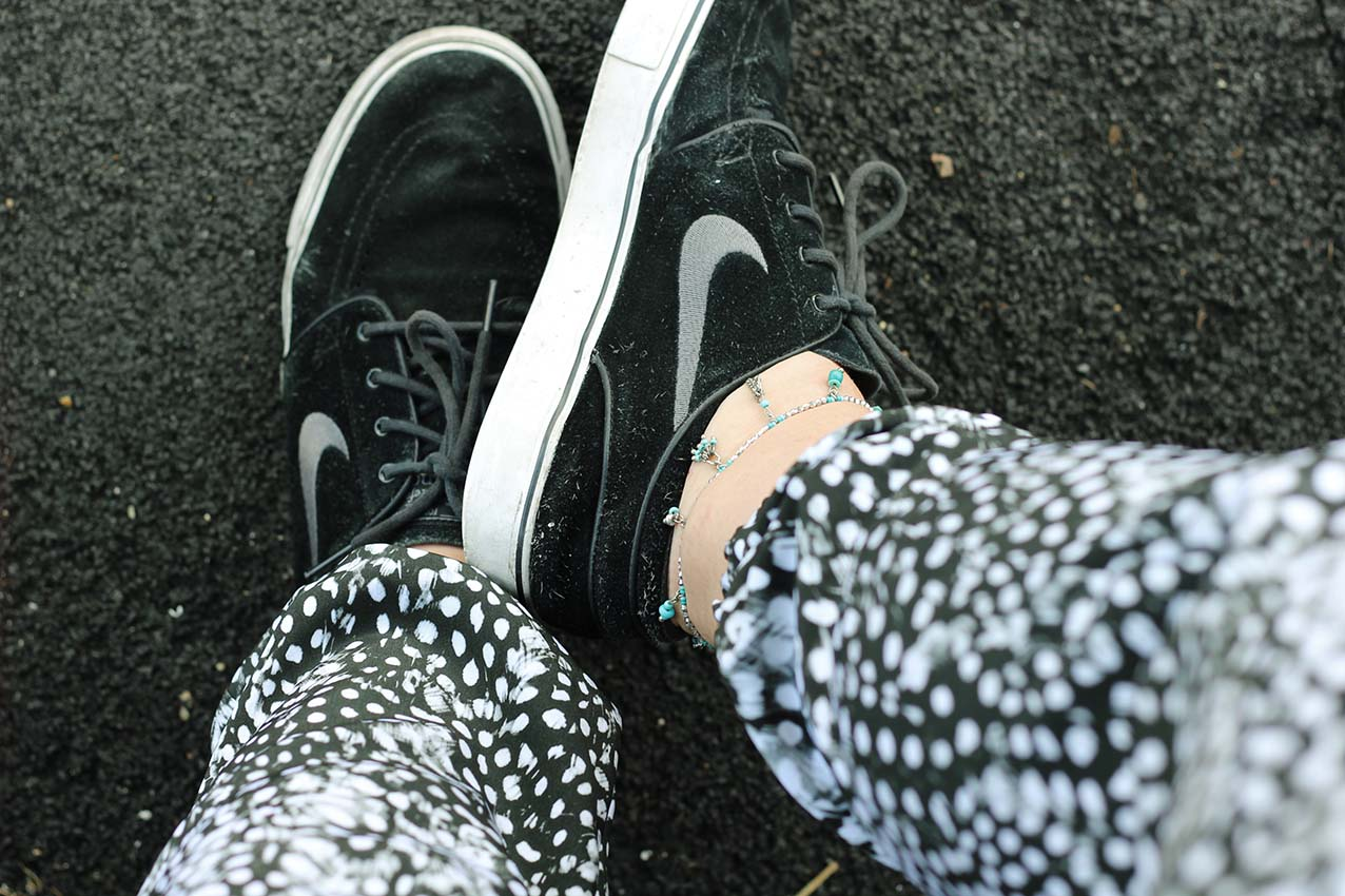 silver turquoise anklet black janoskis