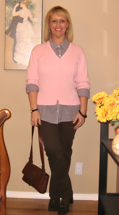 pink cardigan and blouse