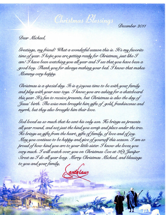 About The Religious Letter From Santa: