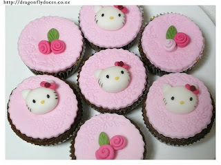 Hello Kitty and roses cute cupcakes