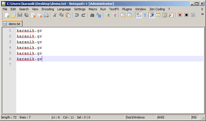 Add character at the start of each line in Notepad++