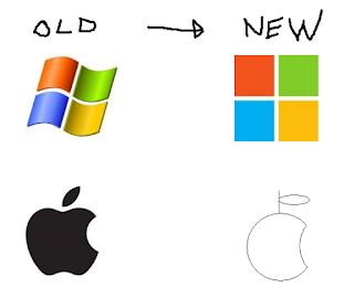 old and new logo of microsoft and apple
