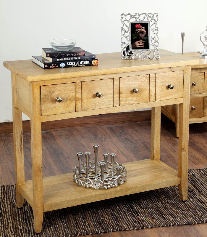 Mango Wood Console Table with Drawer