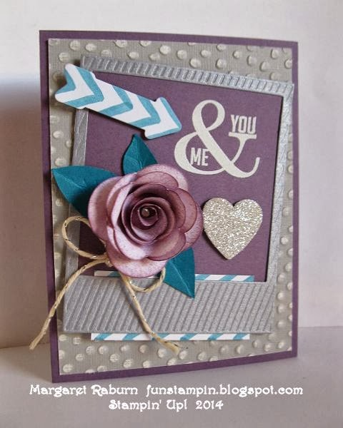 Fun Stampin with Margaret!  Perfect Pennants set.  Hearts a Flutter and On Film Framelits, Spiral Flower Die.  More info on my blog.