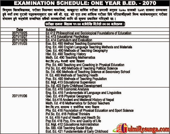 B.Ed-One-Year-2070-2071-Examination-Routine