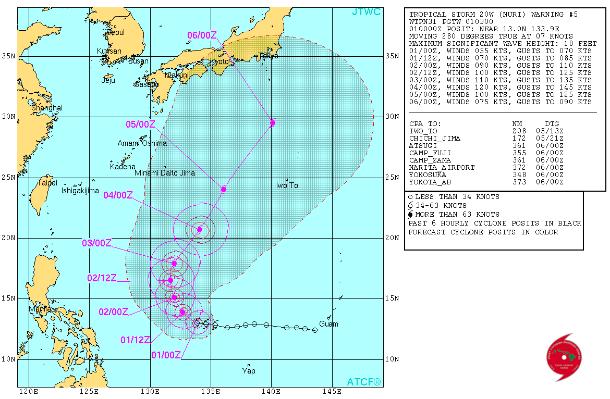 Pronóstico trayectoria, ciclón tropical Nuri