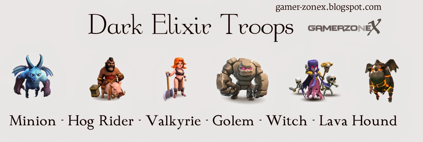 Clash of Clans Dark Elixir Troops