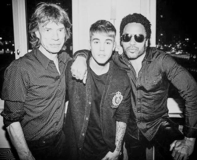 Mick Jagger, Lenny Kravitz y Justin Bieber