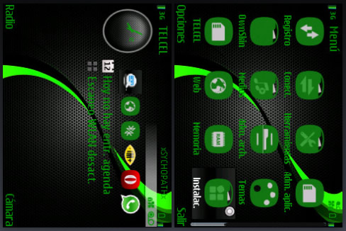 Android Theme : Carbon Green Wave