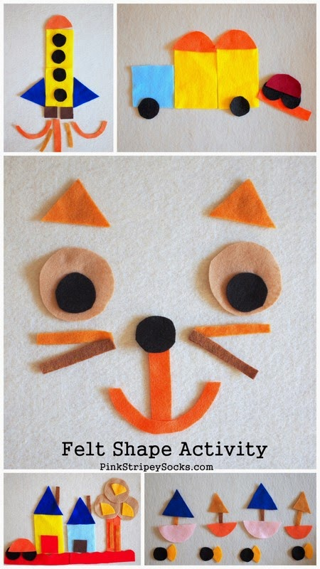 DIY Felt Shape Activity:  Use different shapes to create scenes!