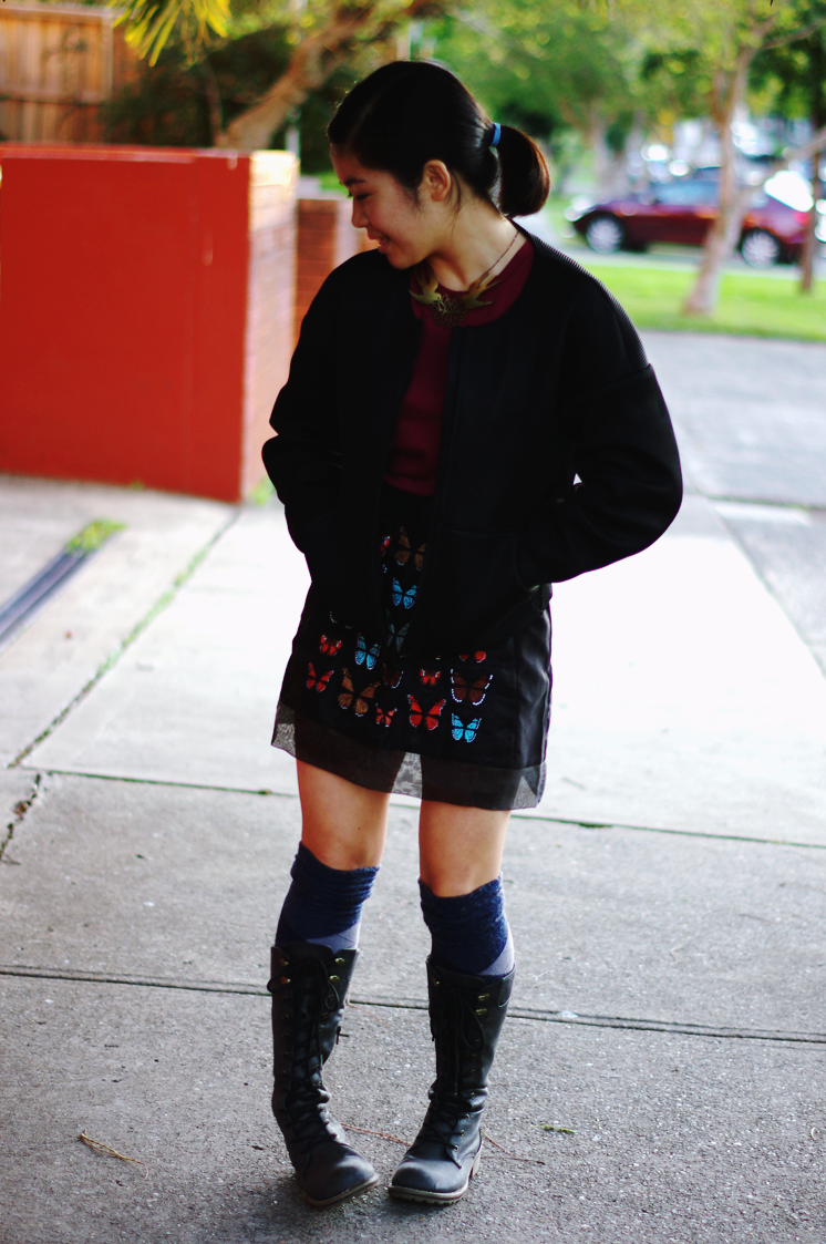 elashock, fashion, fashion blogger, blogger, teen blogger, personal style, outfit, ootd, japanese, australia, sydney, teen, girl, topshop, uniqlo, portmans, boots, lace up, butterfly, skirt, winter, style, エラショック, ファッション, ファッションブログ, ファッションブロガー, ブロガー, 私服, スタイル, コーデ, トップショップ, ユニクロ, 蝶々, ブーツ, オーストラリア, シドニー, 冬