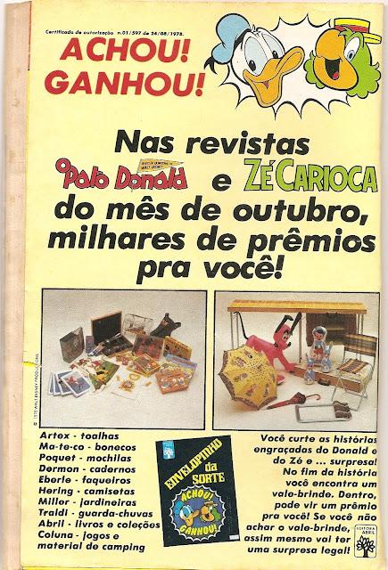 Promoção da Disney com envelope da sorte: prêmios para as crianças dos anos 70.