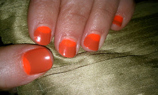 A half-moon manicure using China Glaze Japanese Koi and Life Preserver.r