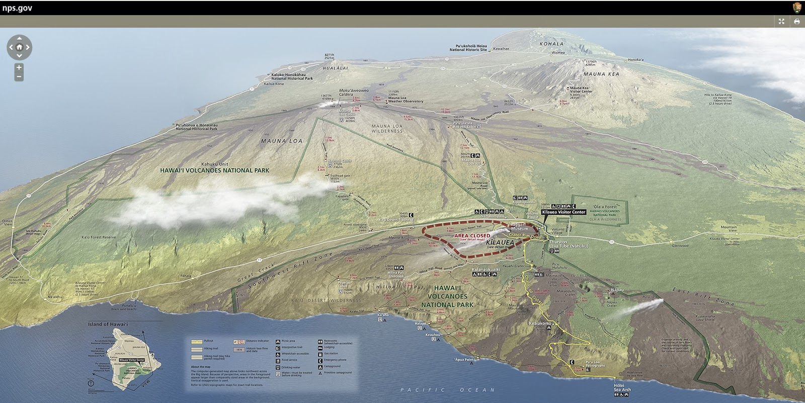 Map Of Volcanoes National Park On The Island Of Hawai I Photo By National Park Service