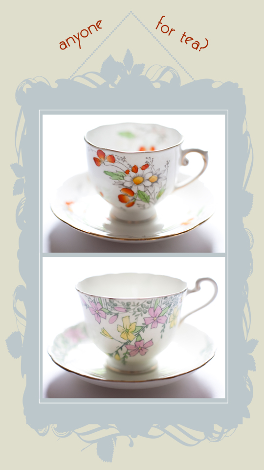 vintage floral teacups in a picture frame