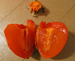Perfectly Ripe Persimmon Split in Half