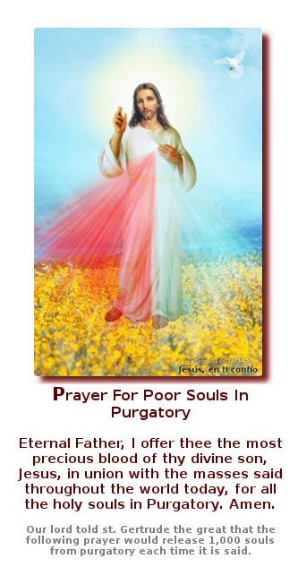 foto de la divina misericordia con oracion en ingles para las animas benditas del purgatorio dicha por jesus a santa gertrudis salen mil almas