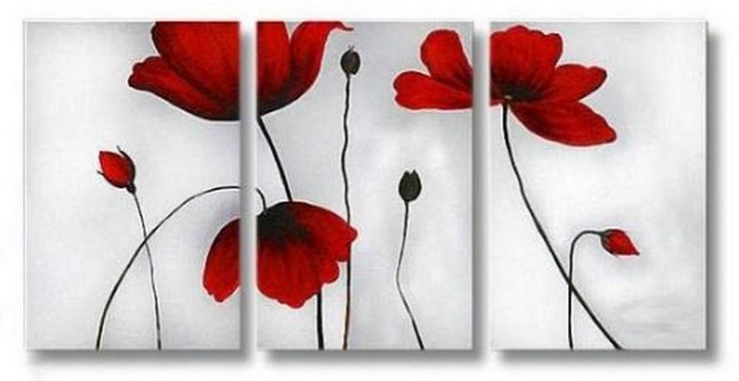Pintura moderna y fotograf a art stica cuadro triplico moderno de flores rojas al oleo - Como pintar un cuadro moderno ...