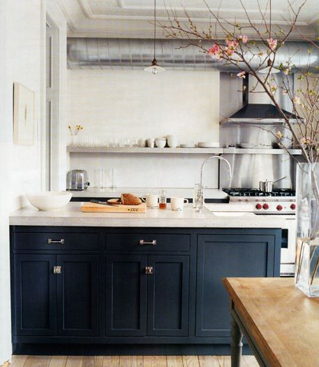 Drab or fab navy blue cabinets design style for Dark blue kitchen paint
