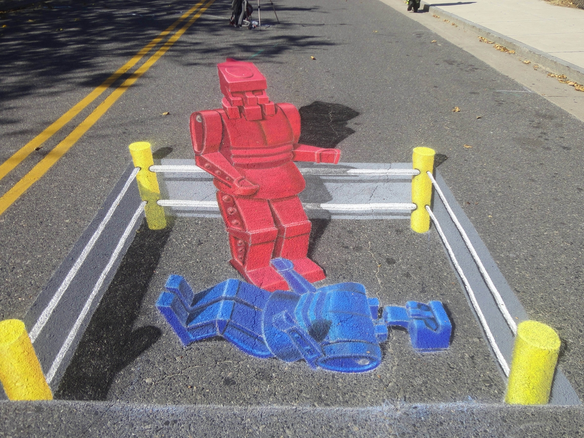 07-Rock-Em-Sock-Em-Robots-Chris-Carlson-3D-Street-Art-Drawings-and-Paintings-www-designstack-co
