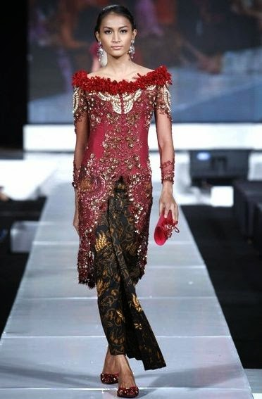 kebaya modern warna merah