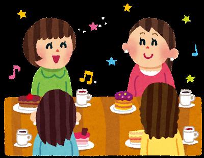 女子会のイラスト「ケーキと紅茶パーティ」