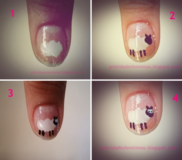unhas ovelha, nail art tutorial