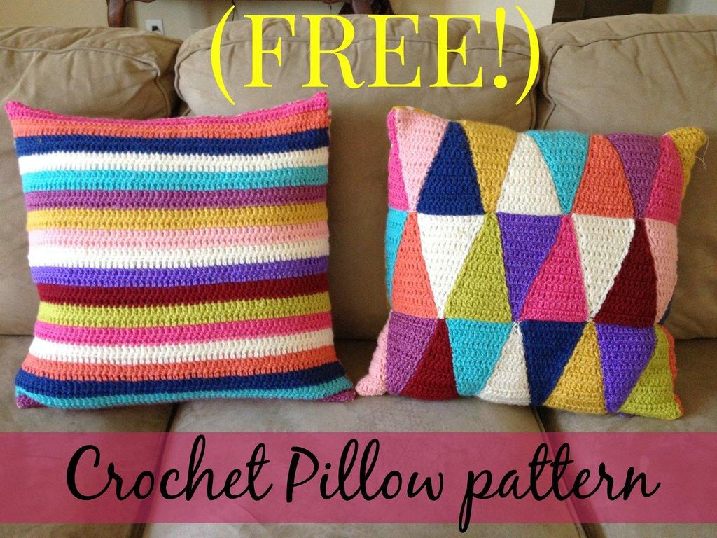 Crochet Pillow Patterns : FREE crochet stripped pillow pattern