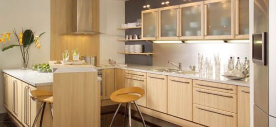 Etonnant Light Brown Wooden Kitchen Cabinets
