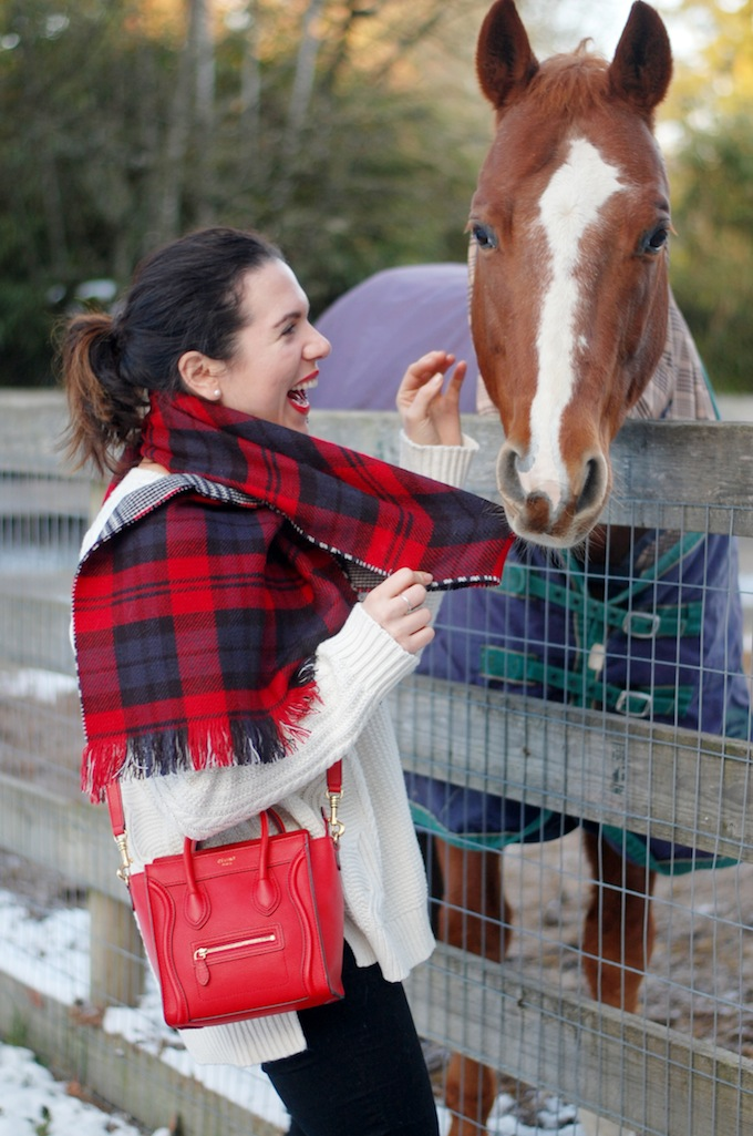 Plaid blanket scarf from Le Chateau Vancouver blogger