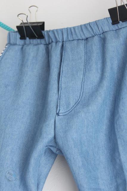 spodnie, jeans, dżins, wypustki, na gumce, rozporek, dla dziecka