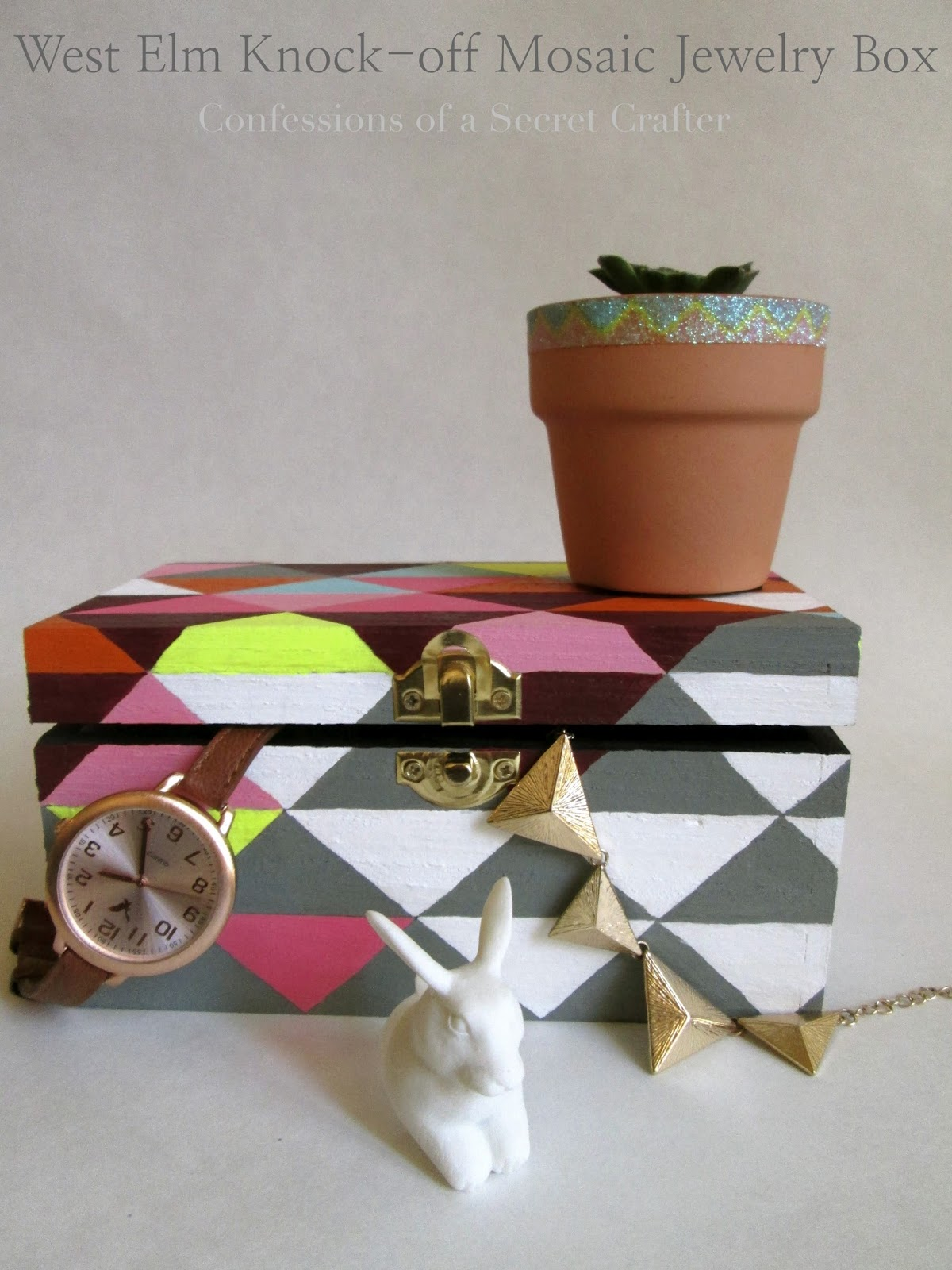 West Elm Knock-off Mosaic Triangles Jewelry Box