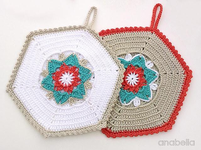 Daffodil crochet potholders by Anabelia