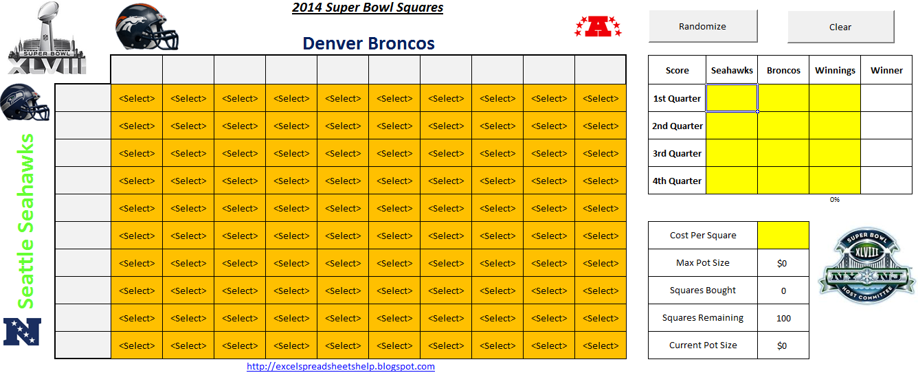 Printable SuperBowl Squares 2014