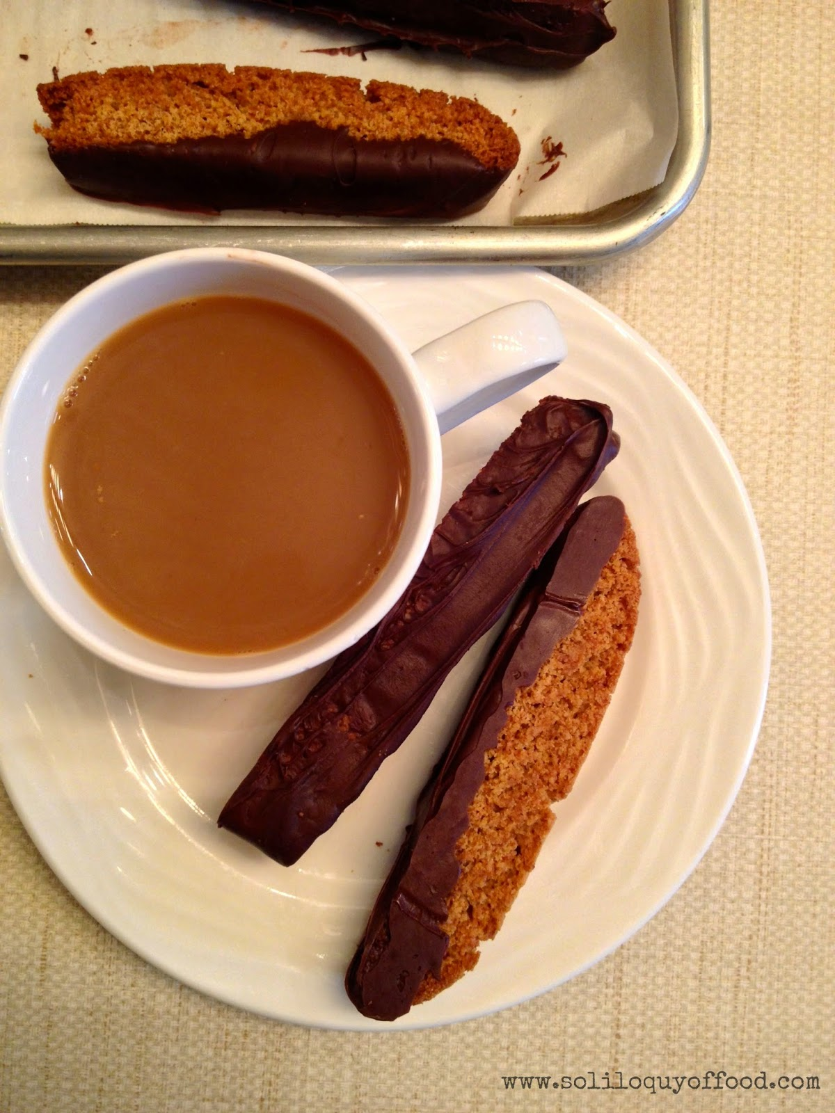 Chocolate Dipped Honey Graham Biscotti - Dunkable Approved Beverages:  Coffee, Tea, Hot Chocolate, Milk   www.soliloquyoffood.com via Love Bakes Good Cakes