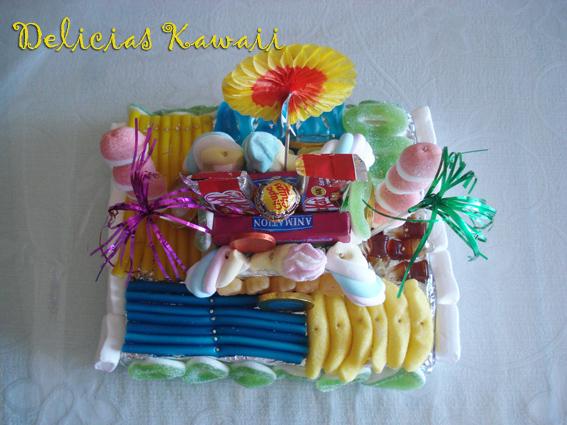 Delicias kawaii tartas de chuches fiesta for Envolver brochetas de chuches