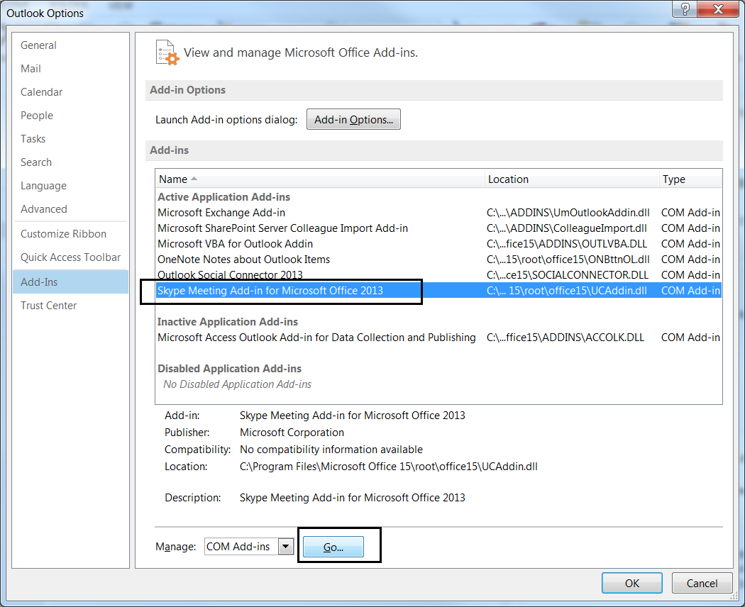 how to disable microsoft office 2013 add ins