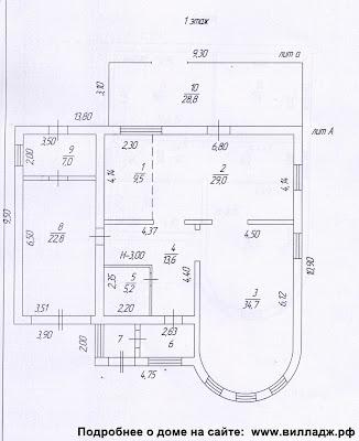 Дом в Солнечногорском районе. План дома - первый этаж