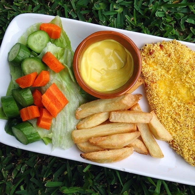 Healthy Baked Chicken Schnitzel with Chips and Salad