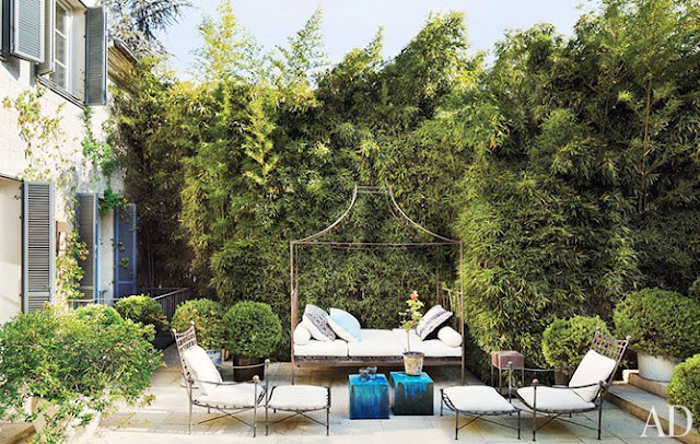 Backyard patio with bamboo creating a natural fence, wire outdoor furniture and a canopy bed turned into an outdoor loveseat