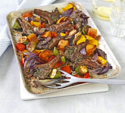 Herbed Lamb Cutlets With Roasted Vegetables Recipe