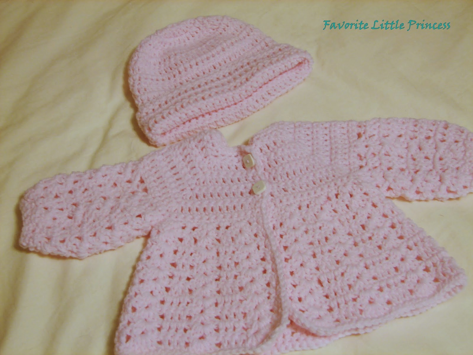 Crochet Baby Hat And Sweater Pattern : Favorite Little Princess: Easy Baby Sweater and Hat