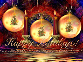 Beautiful happy holidays Christmas background picture with three Christmas trees decorated with baubles